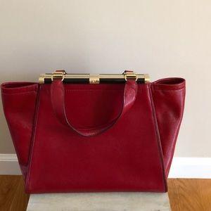 Diane Von Furstonburg red leather satchel